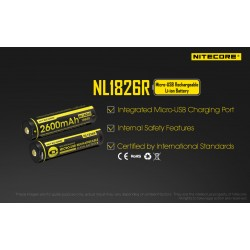 NL1826R 2600mAh 18650 rechargeable li-ion  battery