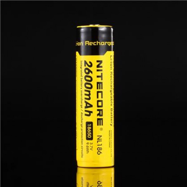 Nitecore NL186, 18650 Li-ion battery 2600mAh 3.7V, rachargeable, protected (NL186)